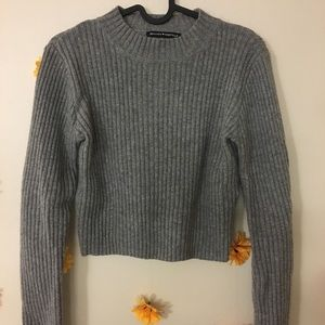 Brandy Melville Gray Cropped Sweater
